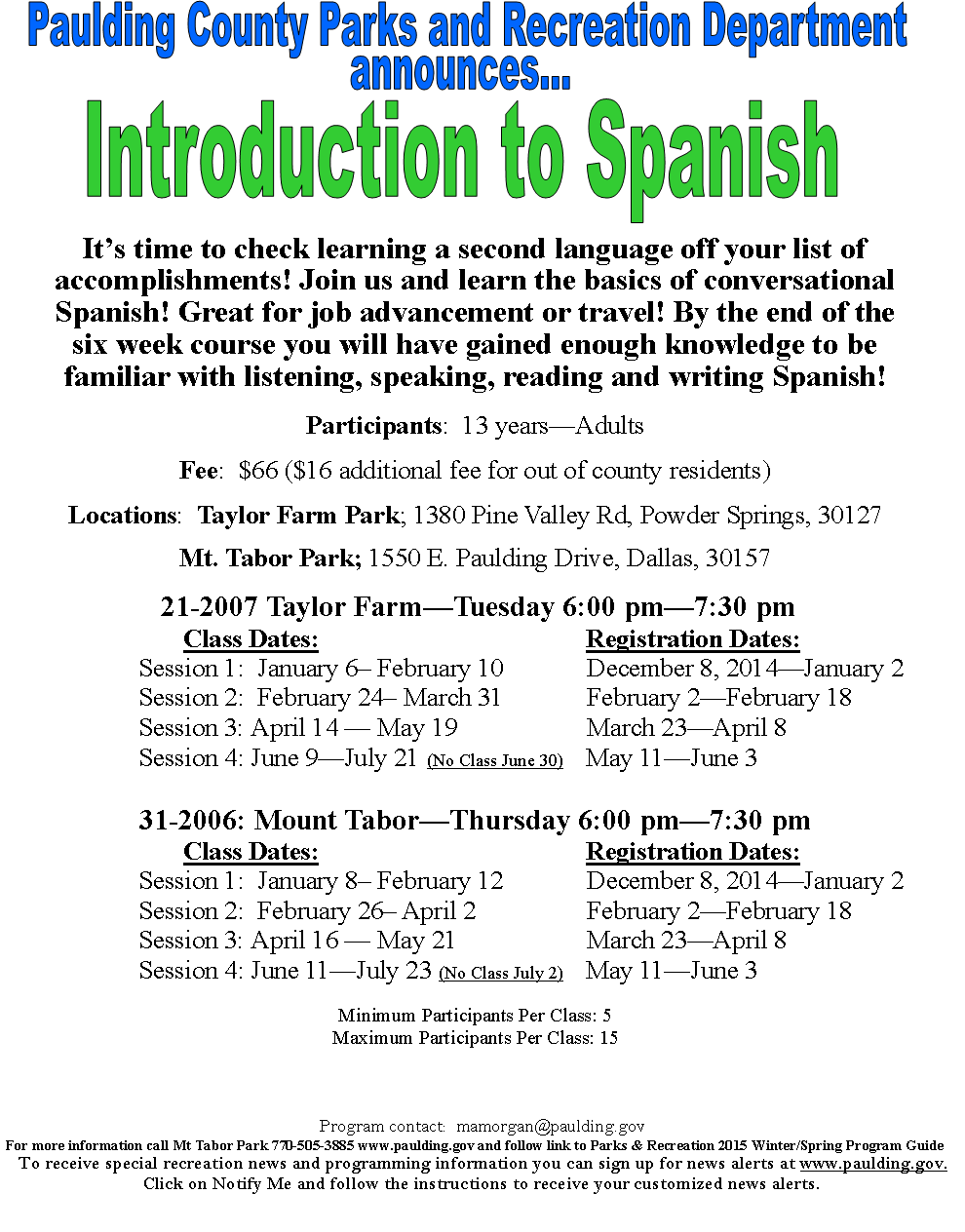 Intro To Spanish Adults Paulding County Uncensored